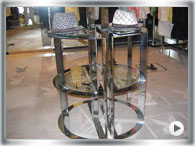 Chrome side tables and shop counters